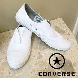 NEW - Converse - white laceless sneakers - size 8!